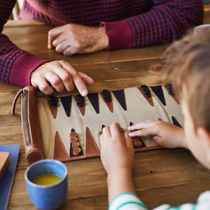 Personalised Leather Backgammon Set - 80th birthday gifts