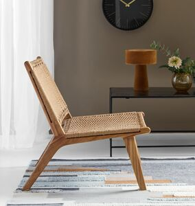Angled Wooden Framed Chair With Woven Seat