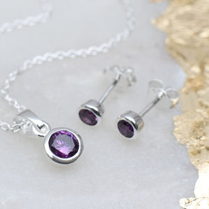 Sterling Silver Birthstone Necklace And Earring Set - jewellery sets