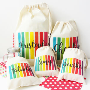 Rainbow Stripe Personalised Party And Occasion Bags - decoration