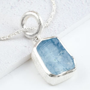 High Quality Aquamarine Rough Gemstone Silver Pendant