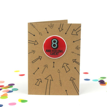 Eight Feeling Great: 8th Birthday Sticker Badge Card