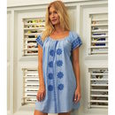 Sally Embroidered Cotton Dress Light Blue