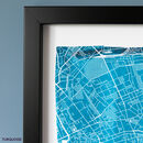 Turquoise Watercolour Map Detail