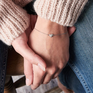 Diamond Bracelet With Tiny Heart - bracelets & bangles