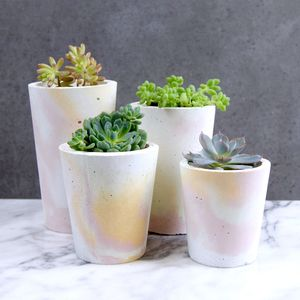 Pastel Marbled Concrete Pots - gifts for her