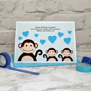 'Little Monkeys' Birthday Card From Children