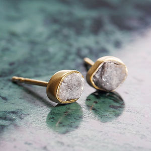 18 K Rough April Diamond Vermeil Stud Earrings - gifts for mothers