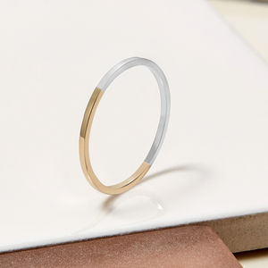 9ct Yellow Gold And Sterling Silver Stacking Ring - rings