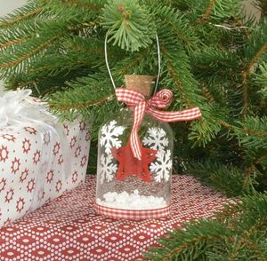 Scandi Glass Jar Christmas Decoration