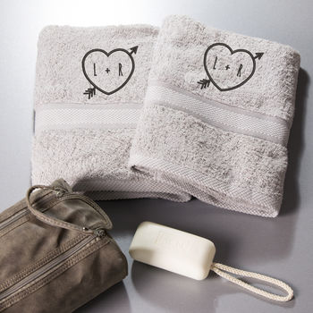 Love Heart Embroidered Bath Towels