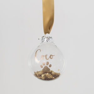 Personalised Glitter Calligraphy Glass Pet Bauble - tree decorations