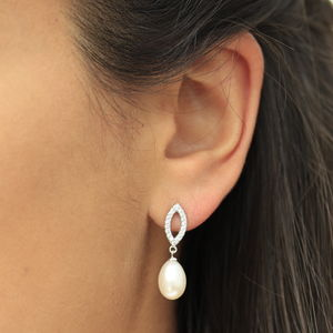 Crystal Pearl Drop Earrings - earrings