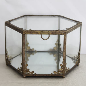 Antique Style Metal And Glass Jewellery Chest