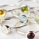 Genuine Gemstone Silver 6mm Stacking Rings