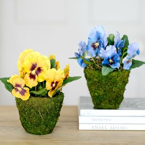 Artificial Spring Pansy Flowers In Woodland Moss Pot - home accessories