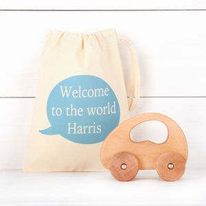 Wooden Push Along Car And Personalised Bag