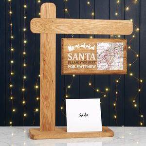 Personalised Santa Stop Here Christmas Wooden Sign Post - christmas signs & decorative letters