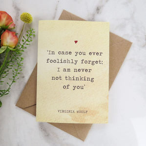 Literature Valentines Card Virginia Woolf Quote - cards & wrap