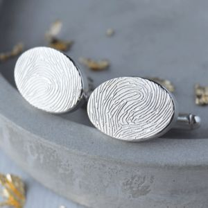 Personalised Ink Fingerprint Oval Cufflinks - cufflinks