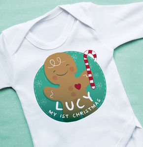 1st Christmas Gingerbread Name Vest