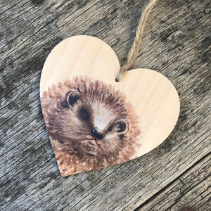 Hedgehog Wooden Hanging Heart Decoration