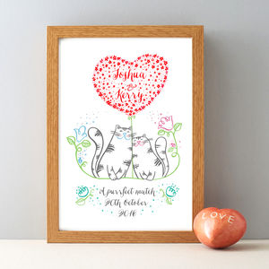 Personalised Mr And Mrs Love Cats Print - animals & wildlife
