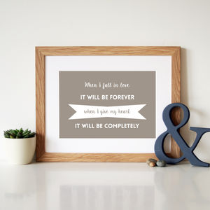 Personalised Song Lyric Print - canvas prints & art