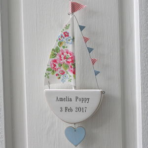 Personalised Hanging Sailing Boat With Heart - baby's room