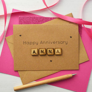 Personalised Anniversary Wooden Tiles Card