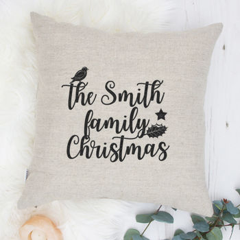 Personalised Christmas Gift Embroidered Cushion