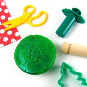 Glittery Child's Dough With Christmas Tree Cutter