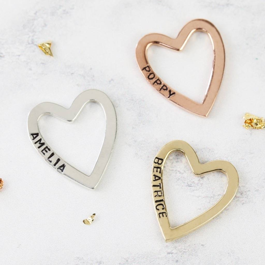 Personalised 9k Gold Heart Outline Pendant