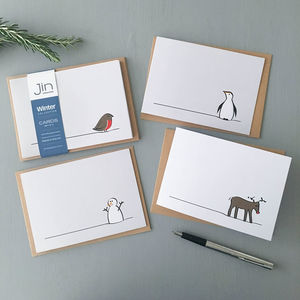 Winter Collection Cards, Mixed Pack Of Four - cards