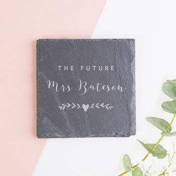 Future Mrs Personalised Gift Slate Coaster