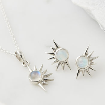 Total Eclipse Moonstone Necklace And Earring Set