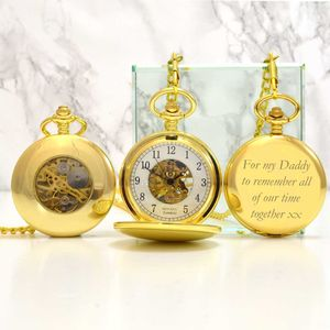 Gold Engraved Pocket Watch With Windowed Back - watches