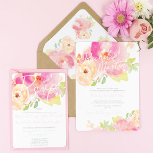 Rose Bloom Wedding Invitation And RSVP