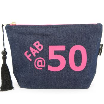Denim 50th Birthday Make Up Bag