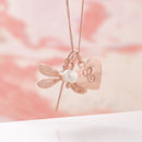 Rose Gold Dragonfly Necklace With Birthstones - White Fresh Water Pearl Birthstone for June