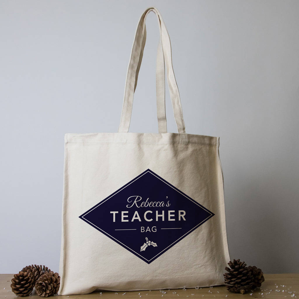 22f8ee1f0d9 personalised christmas teacher tote bags by able labels ...