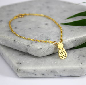 Sterling Silver And Gold Pineapple Charm Bracelet