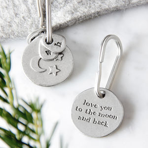 'Moon And Back' Keyring - frequent traveller