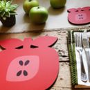Apple Shaped Placemats And Coasters