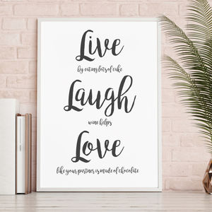 'Live Laugh Love' Typographic Print - posters & prints