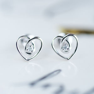 White Gold Diamond Heart Earrings - earrings