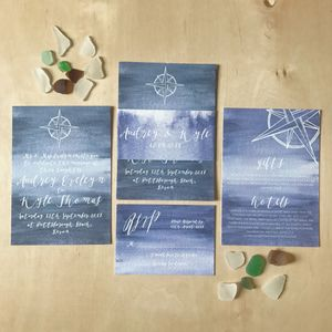 Nautical Watercolour Wash Wedding Stationery