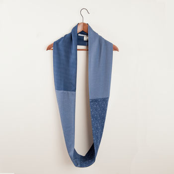 Men's Blue And Green Fabric Infinity Scarves