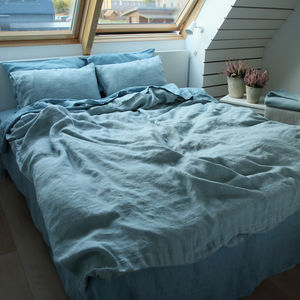 Stone Washed Rhomb Bedlinen Set Stone Blue - bed, bath & table linen