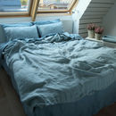 Stone Washed Rhomb Bedlinen Set Stone Blue